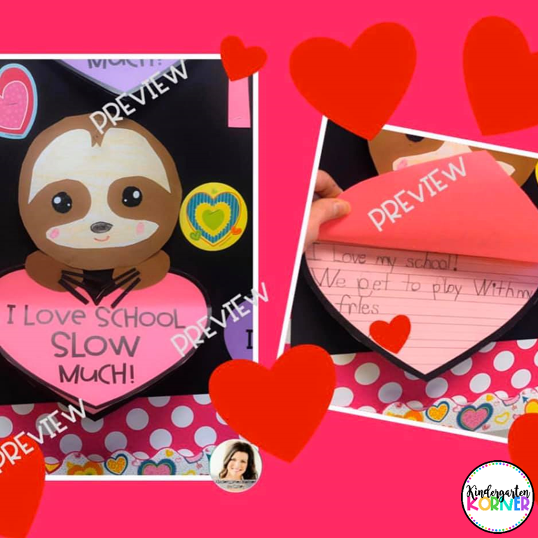 Valentine's Day Sloth Craft and Writing
