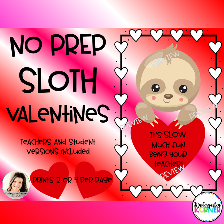 Sloth Valentines for Teachers and Students